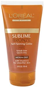 L'Oreal Dermo-Expertise Sublime Bronze Self-Tanning Gelee, Medium-Natural , 5 fl oz (150 ml)