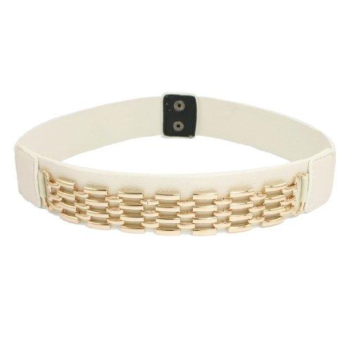 "Lady Press Stud Button Metal Chain Detail Elastic Band Cinch Waist Belt 1.4"" Width"