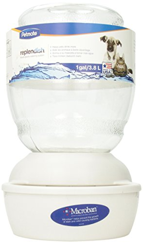 Petmate Replenish Pet Waterer with Microban, 1-Gallon, Pearl White (Cats Water Dispenser compare prices)