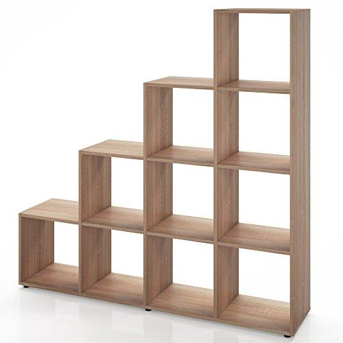 Regal-Treppenregal-Raumteiler-Stufenregal-Bcherregal-Aktenregal-Standregal-Sonoma-10-Fcher