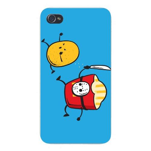 "Apple Iphone Custom Case 4 4S White Plastic Snap On - ""French Fried Jason"" Funny Horror Film Parody"