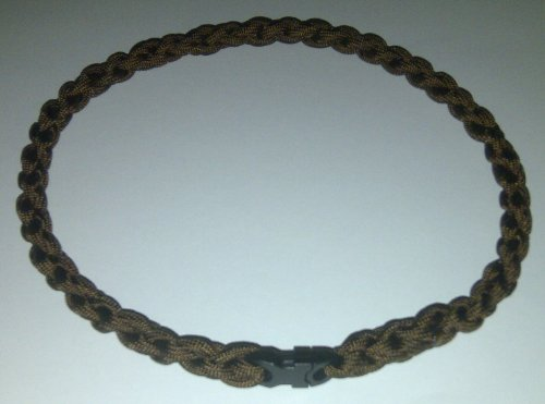 Paracord Survival Necklace Dark Brown (Medium (20 inches))