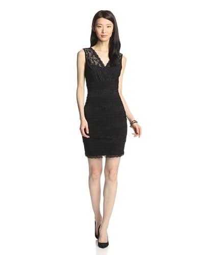 Marina Women's Sleeveless Surplice Lace Dress