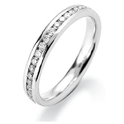 Beautiful Channel Set Round Diamond Half Eternity Ring,9k White Gold