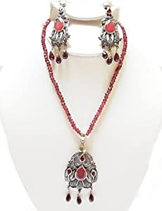 Art Deco Vermeil Ruby, Garnet and Diamond Necklace with Earrings