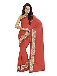 Subhash Sarees Daily Wear Orange Color Chiffon Saree Sari Sarees