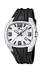 Lotus Men's Quartz Watch with White Dial Analogue Display and Black Leather Strap 15759/1
