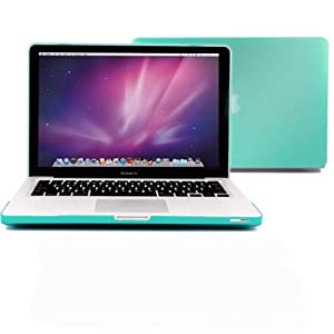 """Macbook Pro 13 Case, GMYLE 2 in 1 - Turquoise Blue Frosted Matte Rubber Coated Rubberized Hard Case for Apple 13.3"""" inch Macbook Pro - With TPU Transparent Keyboard Cover (not fit for 13 Macbook Pro with Retina display)"""