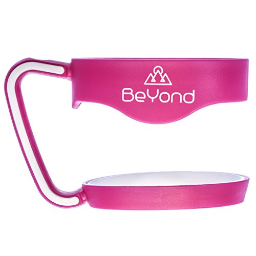 BeYond Brand Hot Pink Handle for 30 oz Yeti Rambler Tumbler - Hotpink with White Anti-Slip Rubber Trim - Fits YETI RTIC SIC and Other Cooler Cups - Gift-quality Box (Handle Only)