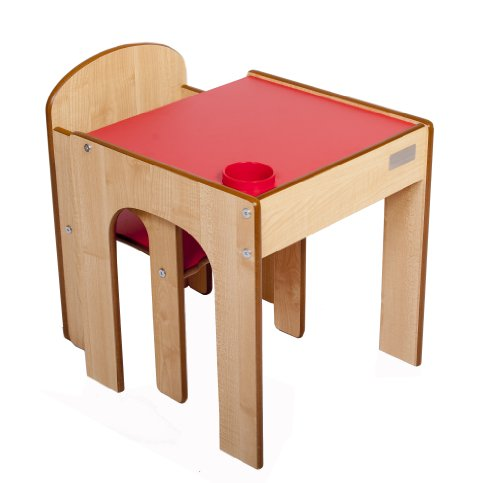 Little Helper FunStation Toddler Table  &  Chair Set (Maple/Red)