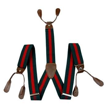 Enwis Suspenders Braces Polyester Elastic Adjustable Button Holes Stripe Dark Green Red