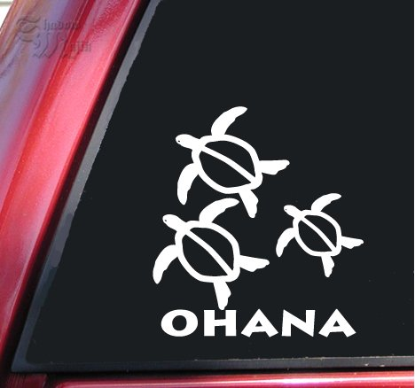 Ohana Honu Hawaiian Sea Turtle Family With 1 Baby White Vinyl Decal Sticker