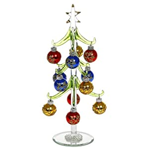 Large Glass Christmas Tree With Baubles Christmas