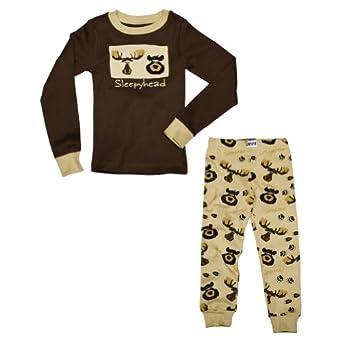 """Lazy One Kids Brown PJ Two-Piece Set """"Sleepyhead"""" (2T)"""