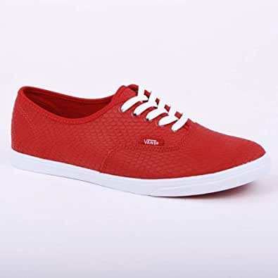 Vans Authentic Lo Pro Embossed Snake T9N8KU Womens Leather Laced Trainers Chili Pepper - 8