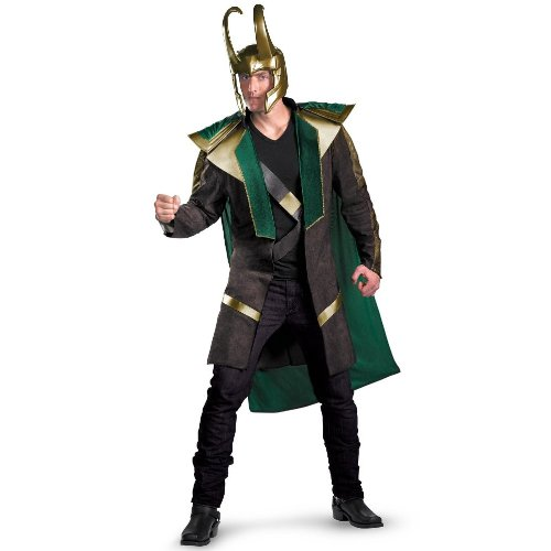 [Disguise Avengers Loki Avengers Deluxe Adult Licensed Costume, Green/Black/Gold, XX-Large (50-52)] (Loki Costume)