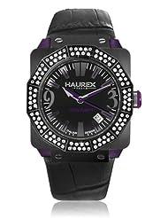 Haurex Italy Women's 8E372DNP Athenum Black IP Purple Aluminum Swarovski Black Leather Date Watch