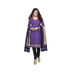 Stylish Girls Women Cotton Printed Unstitched Dress Material (SG318_purple_Free size)