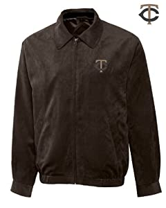 Minnesota Twins Mens Micro Suede City Bomber Jacket by Cutter & Buck