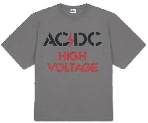 AC/DC 'High Voltage' charcoal t-shirt black/red logo (Medium)