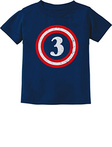 Captain 3rd Birthday - Gift for Three Years old Toddler/Infant Kids T-Shirt 4T Navy (Captain America T Shirt Toddler compare prices)