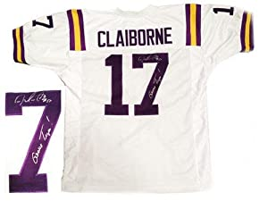 Morris Claiborne Signed Jersey - LSU White - Autographed College Jerseys by Sports+Memorabilia