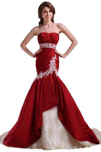 GEORGE BRIDE Elegant Strapless Satin Mermaid Wedding Dress With Beaded Detail Size 6 Red