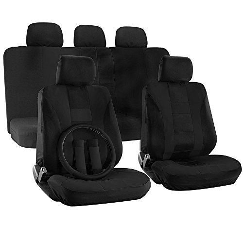 OxGord H Stripe 17 Piece Seat Covers with Steering Wheel Cover for Car, Truck, Suv and Van - Mesh Solid Flat Cloth (Black) (Mazda 3 2005 Car Seats compare prices)