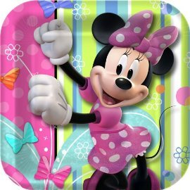 Minnie Mouse Party Plates - Minnie Square Paper Dessert Plates - 8 Count