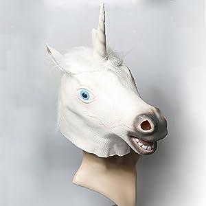 Amazon.com - Riin Latex Unicorn Horse Head Mask Unicorn Head Mask Amazon