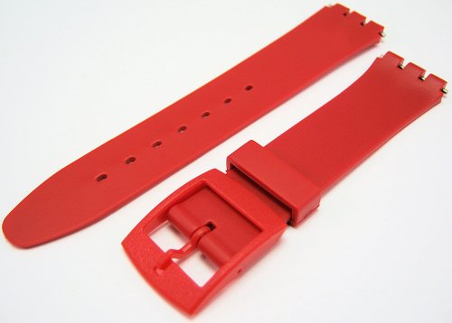 Swatch Style Red Resin Rubber Watch Strap Band 17mm