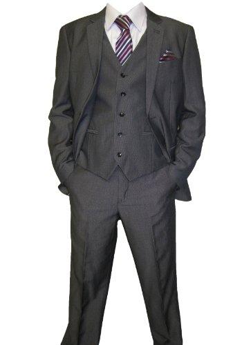 Mens Marc Darcy Grey 3PC Suit Frazer, Jacket 36