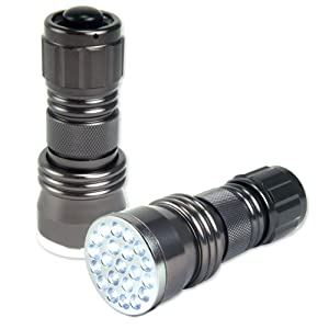 Neiko 40290 Super-Bright 21-LED Aluminum Flashlight, Gunmetal Silver