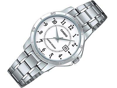 CASIO LTP-V004D-7 - Reloj con movimiento cuarzo japonés, para mujer, color blanco y plateado