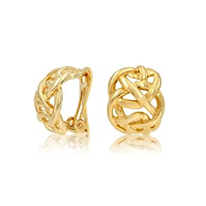 Bling Jewelry Gold Plated Celtic Knot Half Hoop Clip On Earrings