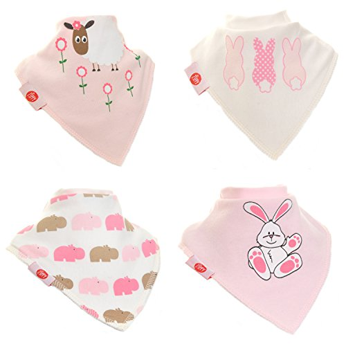 Zippy Fun Baby Bandana Drool Bibs (4 Pack Gift Set) Cute Pink