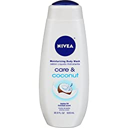 NIVEA Care and Coconut Moisturizing Body Wash 16.9 Fluid Ounce (Pack of 3)