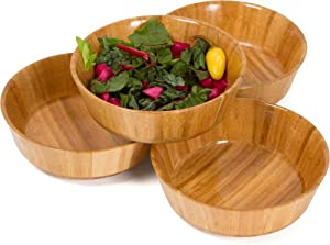All Natural 100% Bamboo Salad Bowls - Set of 4 By Trademark Innovations by Generic