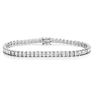 Diamoni Princess Cut 12 Carat Simulated Diamond Platinum Plated Sterling Silver Tennis Bracelet from Double Accent