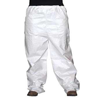 Enviroguard 60 GSM Fabric SMS Pant with Elastic Waist and Open Ankles, Disposable, White, Large (Case of 30)
