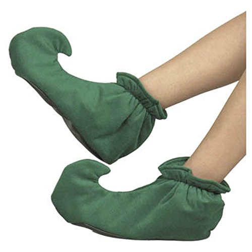 Kid's Green Elf Costume Shoes (Size:Large)