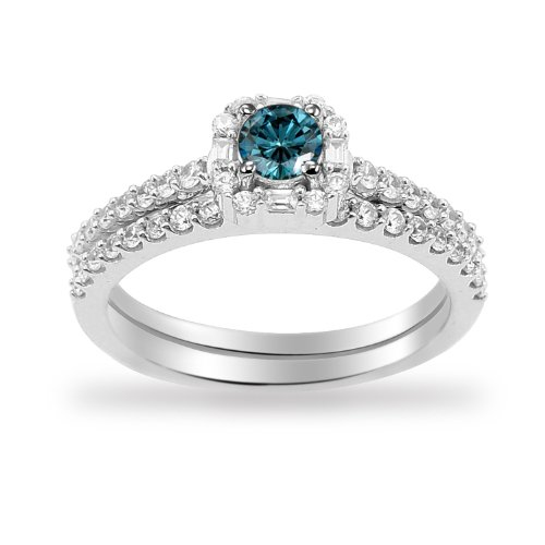 14k White Gold Blue Diamond Center with Diamonds Bridal Ring Set (3/4 Cttw I-J Color, I1-I2 Clarity), Size 5