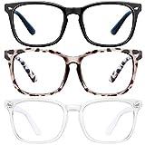 Blue Light Blocking Glasses - 3Pack Computer Game Glasses Square Eyeglasses Frame, Blue Light Blocker Glasses for Women Men, Anti Eye Eyestrain Reading Gaming Glasses Non Prescription (Color: douhua+black+Transparent)