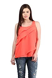 Mayra Women's Georgettte Shorts Top (1512T08158_S, Coral )