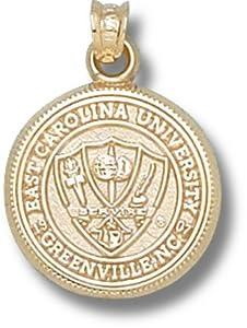 East Carolina University Seal Pendant 5 8 Inch - Gold Plated by Logo Art
