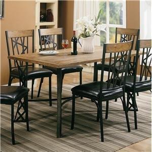 Rectangular Dining Table Black Metal Base Light Oak Finish