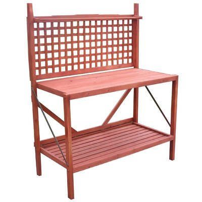 Merry Products Foldable Wooden Potting Bench With Storage – Fir Wood