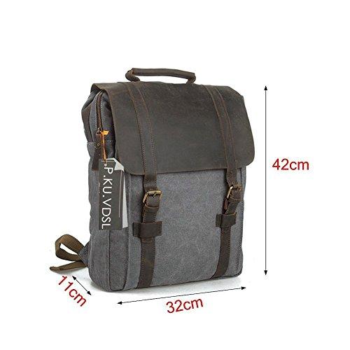 """Canvas Backpack, P.KU.VDSL Laptop Backpack, Vintage Canvas Backpack, Casual Daypacks, Retro Rucksack, Travel Bags, Genuine Leather Shoulder Bag for Men Outdoor Sports Recreation Fit 15"""" Laptop 3"""
