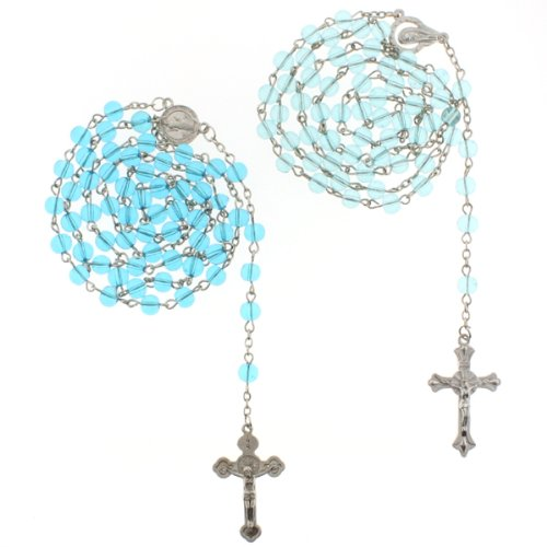 Saint Benedict and Madonna Blue Glass Bead Rosaries - 6mm Beads - 28'' Necklace Length, 25'' Overall - Sold as a Set of 2