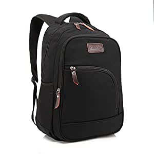 ZeleToile Canvas Computer Bag School Shoulder Backpack Travel Rucksack Bag Black